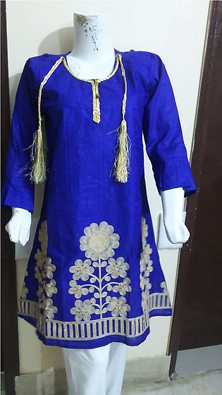 Blue color embroidered & stitched shirt for females stuff cotton by A-J Corner