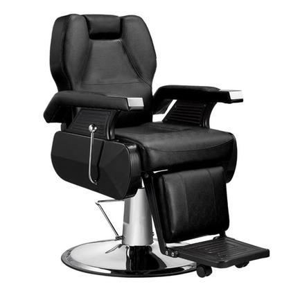 Classic Hydraulic Reclining Salon Barber Chair Heavy Duty Barber Salon Spa Equipment with 360 Swivel Deluxe and Hydraulic Pump for Shampoo Facial Massage Black