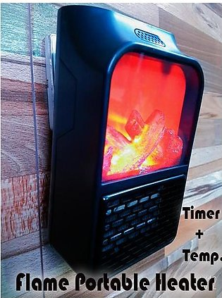 Mini Compatible Electric Wall-outlet Flame Heater Air Warmer with Remote Contro…