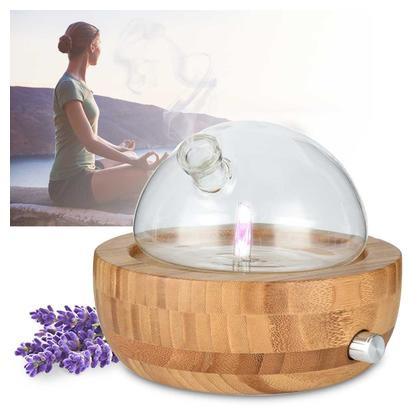 Glass Essential Oil Diffuser Humidifier,Aromatherapy Diffuser Nebulizer Wood And Glass Aromatherapy Nebulizer For Home, Office, Spa(No Water)