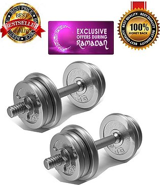 18kg High Quality Professional Iron Dumbbell Chrome plates with Rod  Fitness Ho…