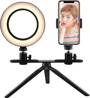 Selfie Ring Light 6 Inch with Tripod Stand & Cell Phone Holder for Live Stream/…