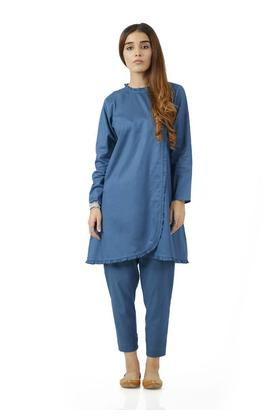 EGO Winter Collection 2019 Deep Sea 2Pc Teal Cotton 2Pcs Stitched For Women