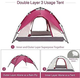 4 to 6 Person Automatic Double Layer Water Proof Tent -Green