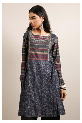 Generation-Pre Fall Collection Bead Work Tunic Cotton Contemporary-B29280T-Darkgrey