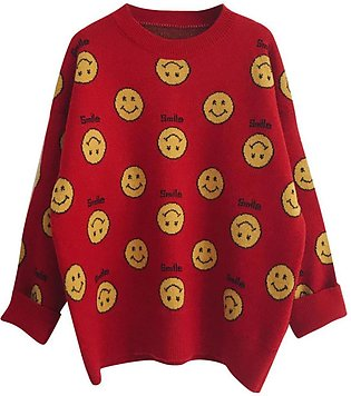 Ladies Long Sleeve Smiling Face Print Loose  Crochet Knit Sweater Winter Tops...