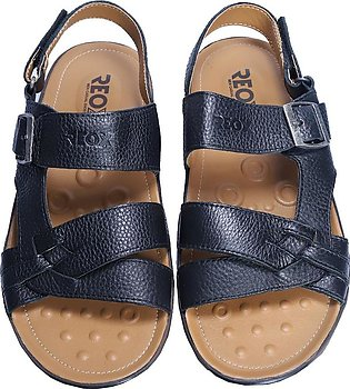 Reefland Black Synthetic Leather Sandal for Men-JIMMY 3247