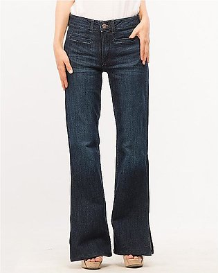 Womens Dark Blue Bell Bottoms Jeans With Side Cuts