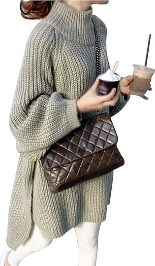 Women Autumn Winter Solid Color Loose Long-Sleeve Half High Collar Knitted Mid-…