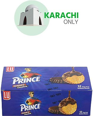 Lu Prince Covered In Chocolate Sandwich Biscuits 12 Ticky Packs