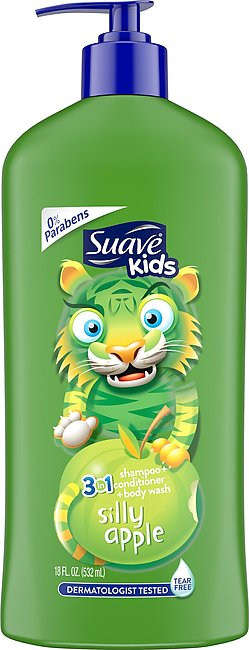 Suave Kids 3 in 1 Shampoo, Conditioner, Body Wash Silly Apple 532 Ml