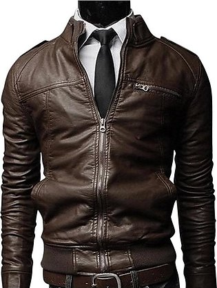 Men PU Leather Motorcycle Jackets Fashionable Autumn Winter Outwear Coat Top