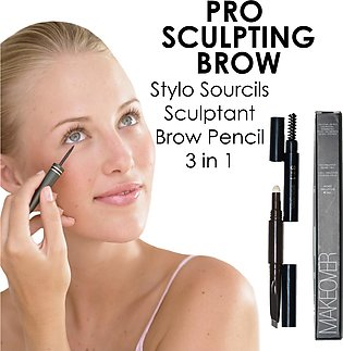 3 in 1 Eyebrow Pencil Natural Waterproof By-MAKEOVER PARIS