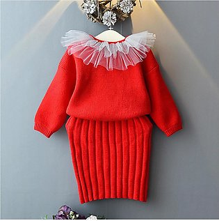 Cute Girls Warm Sweater Knit Crochet Tops Strap Dress Set Baby