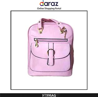 Style University Students Backpack Fashion Girl Backpack Bag PU Leather Pink