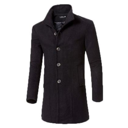 Mens Business Casual Solid Woolen Slim Fit Trench Coat Black