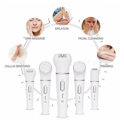 Luxuries 5 in 1 Rechargeable Electric Hair Removal Epilator Women Shaver Painless Face Cleansing Brush Facial Massager Bikini Trimmer Women Beauty Kit