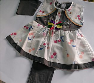 Baby Girl Garments 100% Cotton Frock  with Trouser