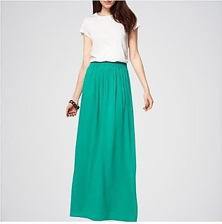 Pack Of 2 (Sea Green Skirt + White T-Shirt). E4H-110125