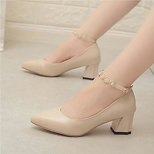Women's Ladies Girls Fashion Thick Heel Solid Single Point Toe CasualShoes