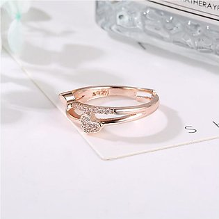 Heart-Shaped Ring Inlaid Diamonds Rose Gold Silver the Best Gift Jewelry Set Fo…