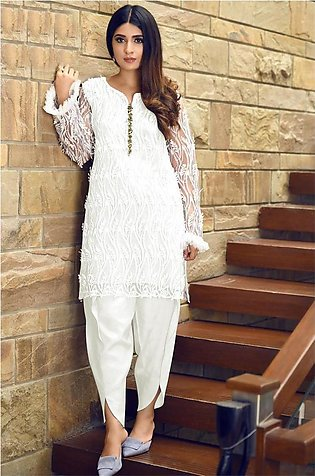 Net Embroidered Suit For Women