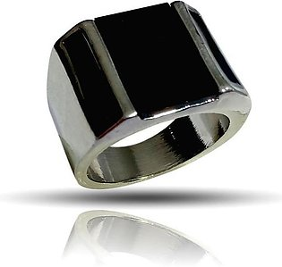 Musa Fashions Lovely Stylish Black Stone in parts Silver Ring for Men