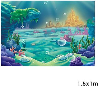 Blue Sea Underwater Warld Castle Shell Kids Party Studio Photography Background