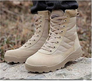 Brown Leather Trekking Army Delta Boots Shoes For Men
