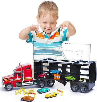 Detachable Carrier Truck Toy Car Transporter with Rubber Wheels and 6 Toy Car...