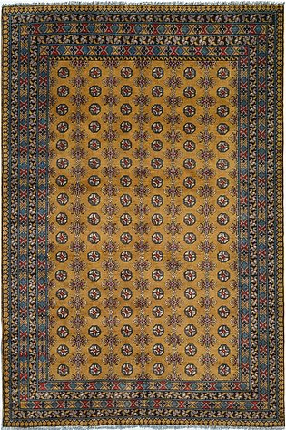 6 X 9 New Gold Color Hand-knotted Tribal Rug in Feel Pa Design