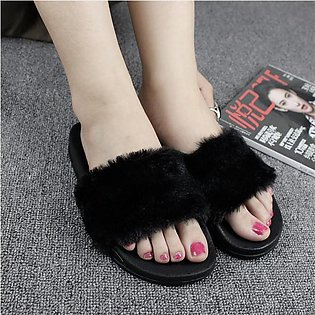 New Women Flat Plushed Mules Fur Slipper Indoor/Outdoor Fur Open Toe Shoes Black