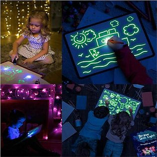 LED Light Up Drawing Kit Developing Toy Portable Draw Sketchpad Board Education…
