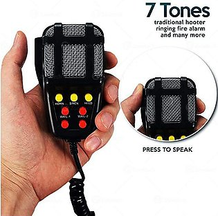 7 Tone Sound Car Siren Horn with Mic PA Speaker System Sound Amplifier - Black