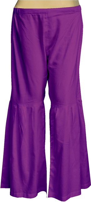 Dhanak Boutique Gharara Style Trousers for Women in Soft Cotton - Purple