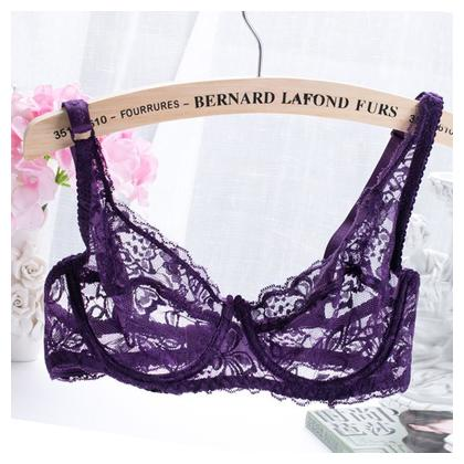 New fashion Women Lace Gauze Bra Push Up 3/4 Cup Hook-and- Eye Breathable Ultra-thin bra Lingerie Underwear
