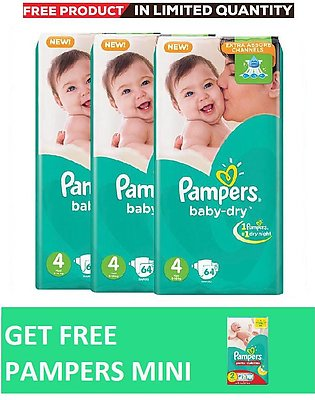 Pampers Pack of 3 Baby Dry Diapers Mega Pack Size 4, 64 Count