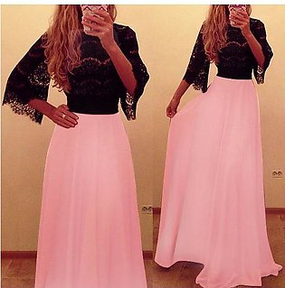 Women  Lace Long Sleeve Slim Casual tail Formal Party Maxi Dress