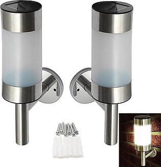 2 Pcs Waterproof Solar-Powered Stainless Steel LED Wall Lamp Yard Street Fenc...