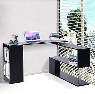 Modern L Shaped Rotating Computer Desk Table with Shelves - Black