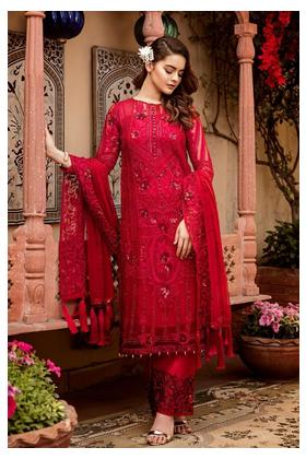 Red Chiffon Suit 3-Piece - Wedding Dress - Unstiched - S-99