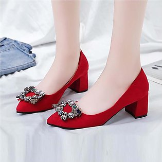 Summer Classic Women Thick  High Heels Crystal  Princess Casual Wedding Shoes