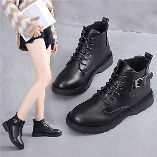 Women Thick Heel Buckle Single Boot Student British Style Lace-Up Ankle Boots