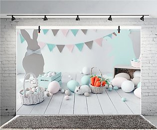 7x5ft Cute Bunny Easter Day Backdrop Party Banner Photo Studio Background