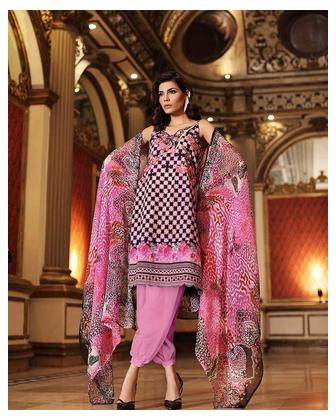 GA - Gul Ahmed - Purple Chiffon with Embroidered Front Printed Back & Sleeves 3PC-Unstitched - C-497-158434