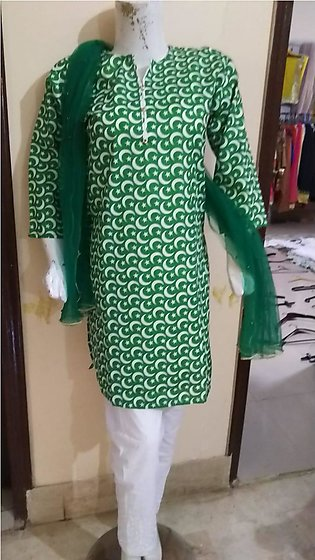 14th August  females dress in Green & White color stuff cotton by A-J Corner