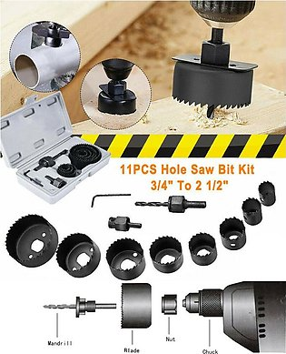 Pack of 11 Pcs Hole Saw Cutting Kit Wood Carbon Steel Cutter Circular Round