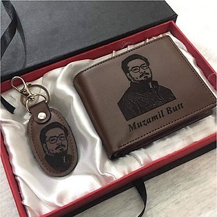 Personalized Men's Leather Wallet and Key Ring