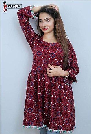 HAFSA,s FASHION Frock Style Ajrak Printed Short Kurti For Her - HF-002