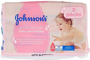 J'ohnson's Baby Wipes Pack of 3  (56 Wet Wipes per Pack) Total 168 wipes (Made …